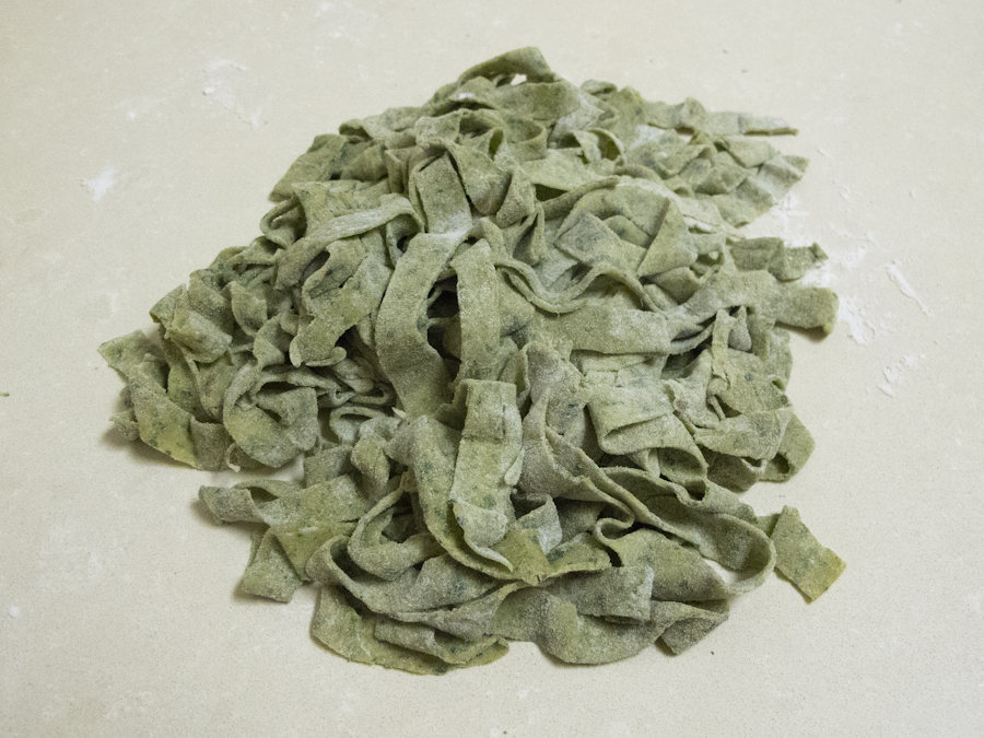 Homemade Kale Herb Pasta by hand