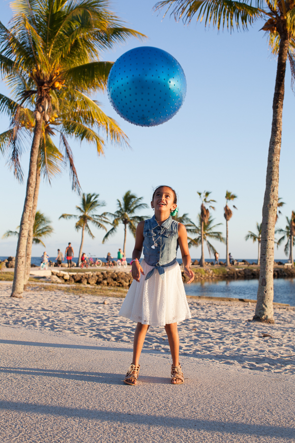 Child playing with ball at Matheson Hammock