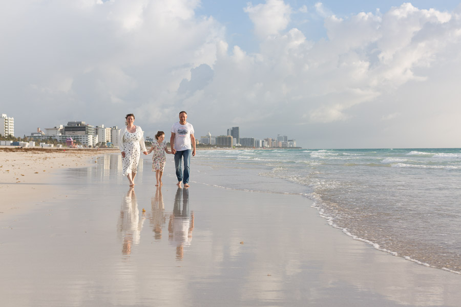 Family of three sunrise beach photo session miami