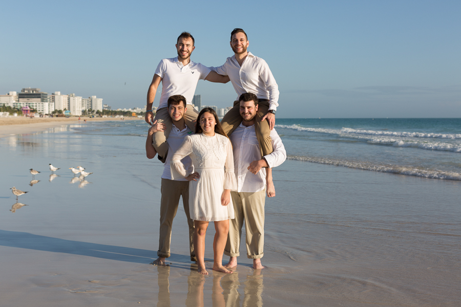 Large Family Photography Beach Session at Sunrise