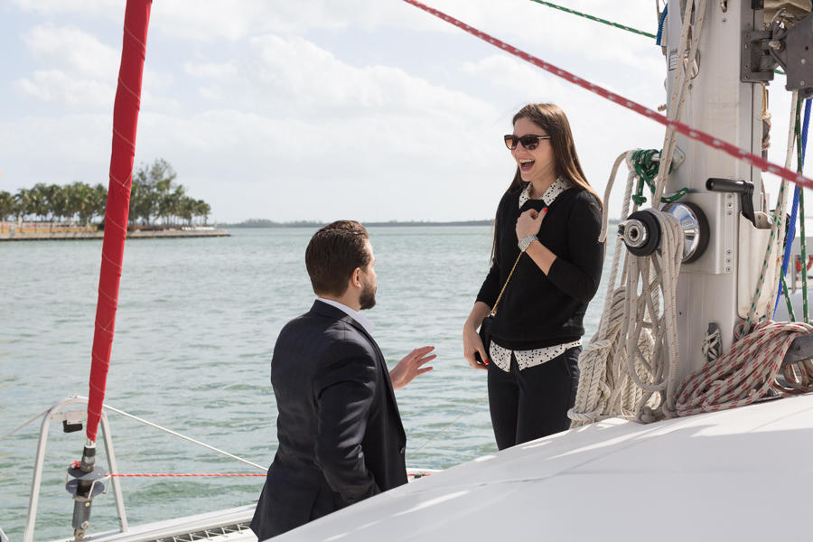 Brickell Boat Surprise Proposal Photographer Miami, Florida