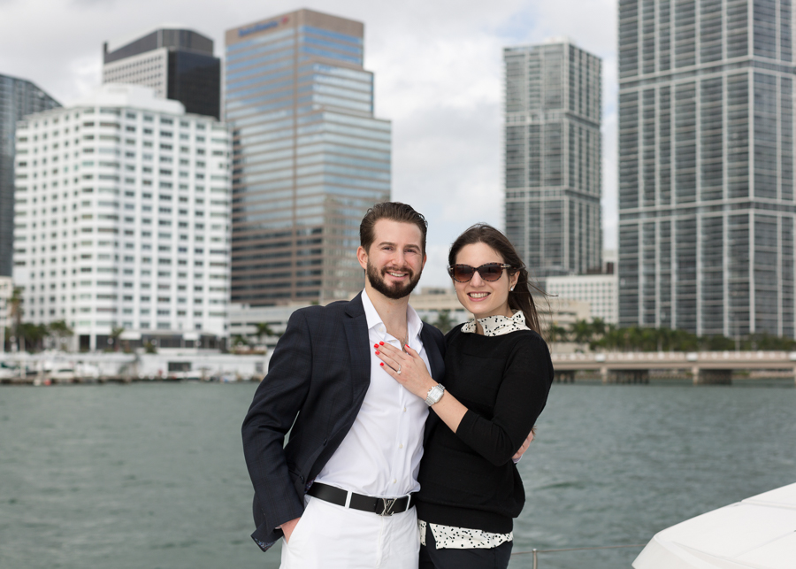 Brickell Boat Surprise Proposal Photographer Miami Florida