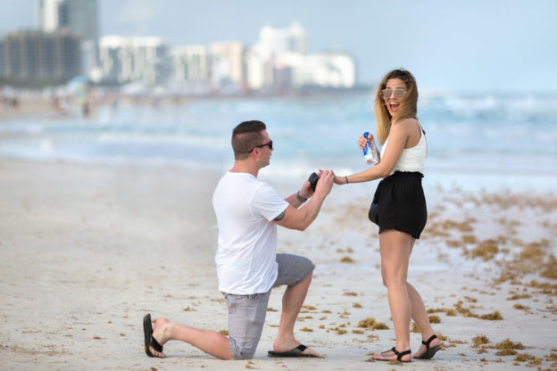 South Pointe Park Beach Proposal Photographer