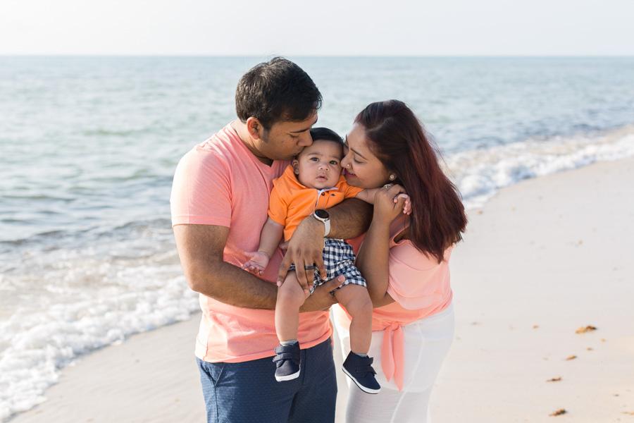 Miami Family of Three Sunrise Beach Photo Shoot