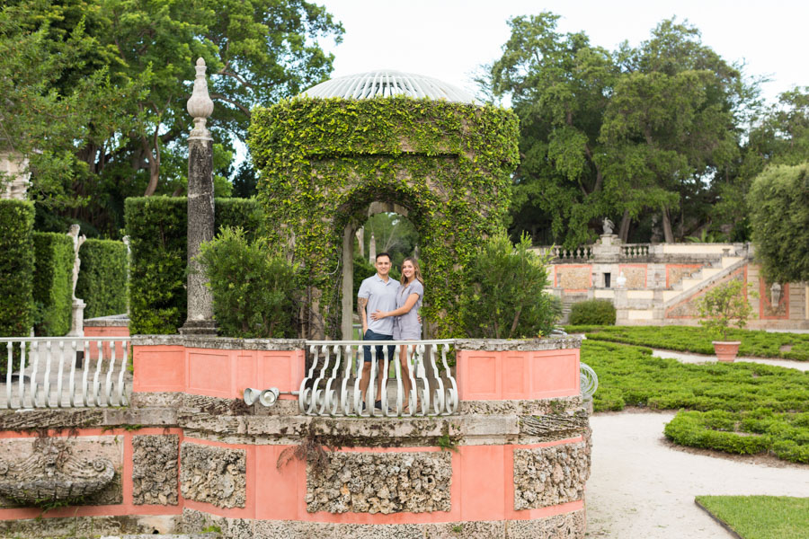 couple in vizcaya gardens