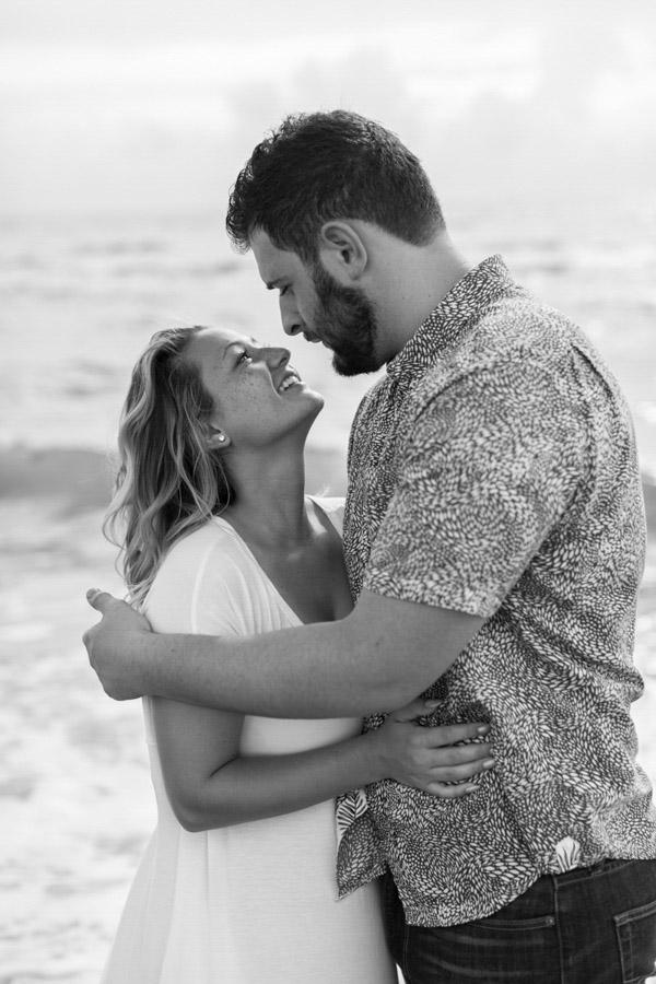 couple engagement black white photo