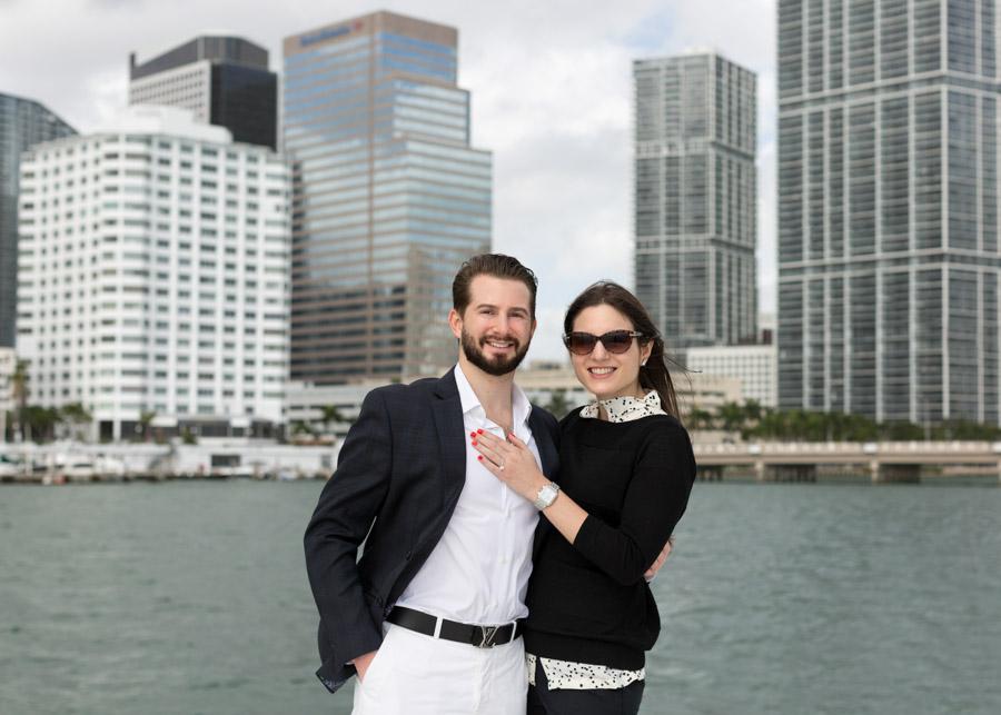 couple portrait brickell boat ride