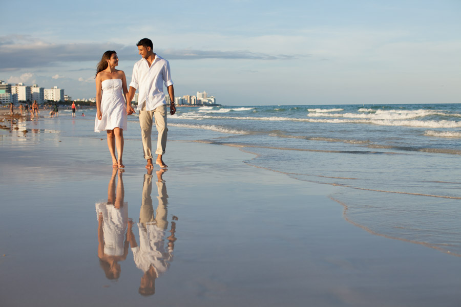 reflection of couple in miami beach