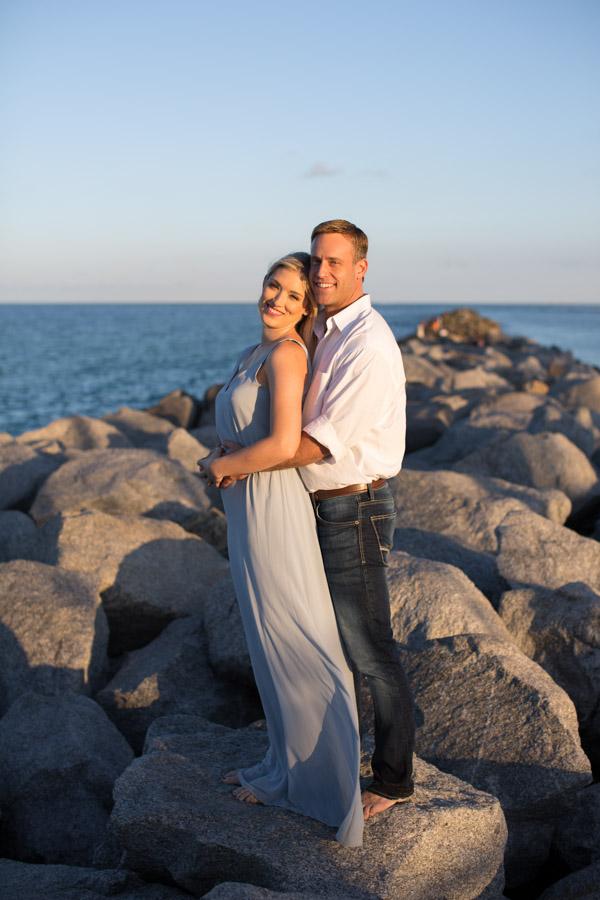 couple on south pointe park rocks